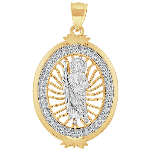 14k Yellow Gold White Rhodium, Saint Jude Judas Pendant Religious Charm Created CZ Crystals 26mm (P015-025)