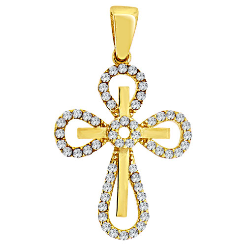 14k Yellow Gold, Small Fancy Cross Religious Pendant Charm Created CZ Crystals 15mm (P016-030)