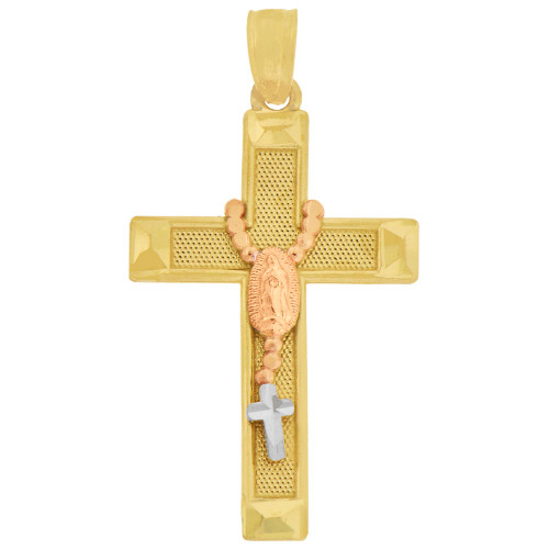 14k Tricolor Gold, Rosary Virgin Mary Cross Pendant Religious Charm 16mm (P016-034)
