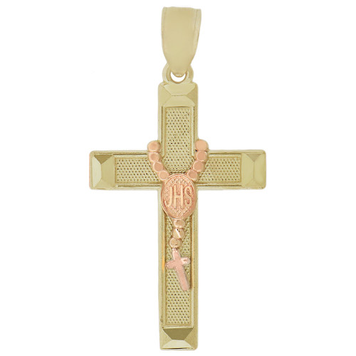 14k Yellow and Rose Gold, Rosary IHS Cross Pendant Religious Charm 16mm (P016-038)