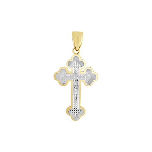 14k Yellow & White Gold, Fancy Cross Crucifix Jesus Christ Pendant Religious Charm 14mm (P016-039)