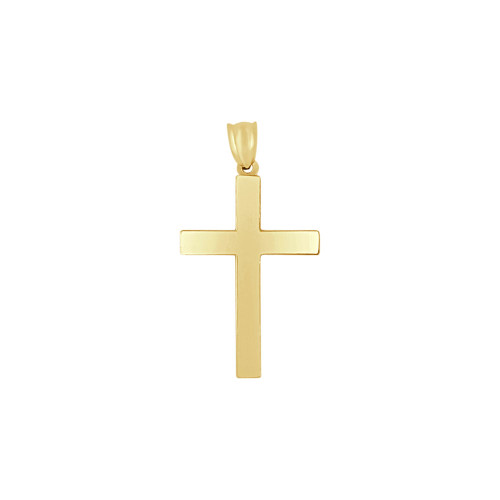 14k Yellow Gold, Simple Plain Cross Pendant Religious Charm 24mm (P016-040)