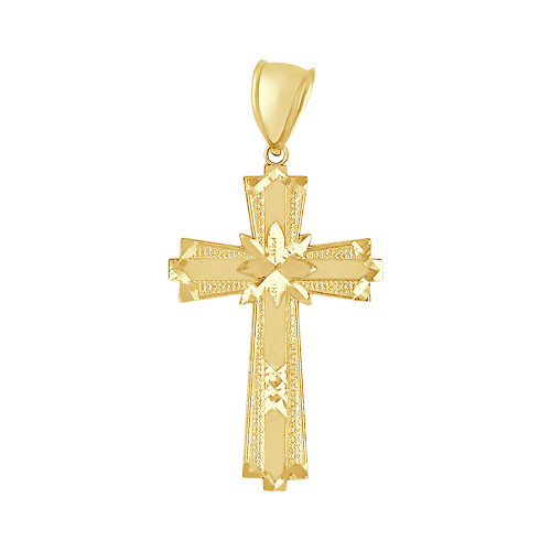 14k Yellow Gold, Modern Cross Pendant Religious Charm 25mm (P016-042)