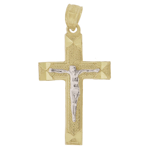 14k Yellow Gold White Rhodium, Small Crucifix Cross Pendant Religious Charm 9.5mm (P018-042)
