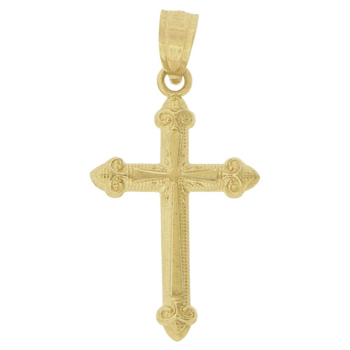 14k Yellow Gold, Small Classic Cross Pendant Religious Charm 12.5mm (P018-043)