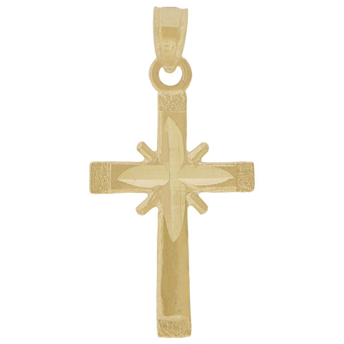 14k Yellow Gold, Mini Classic Cross Pendant Religious Charm 12mm (P018-044)