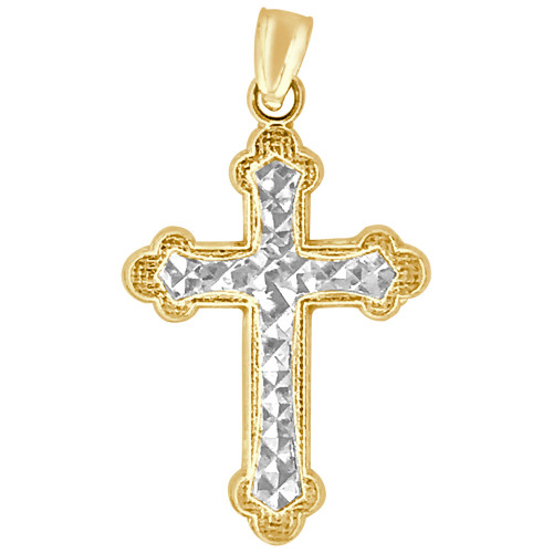 14k Yellow Gold White Rhodium, Fancy Cross Pendant Religious Charm 17mm (P018-045)