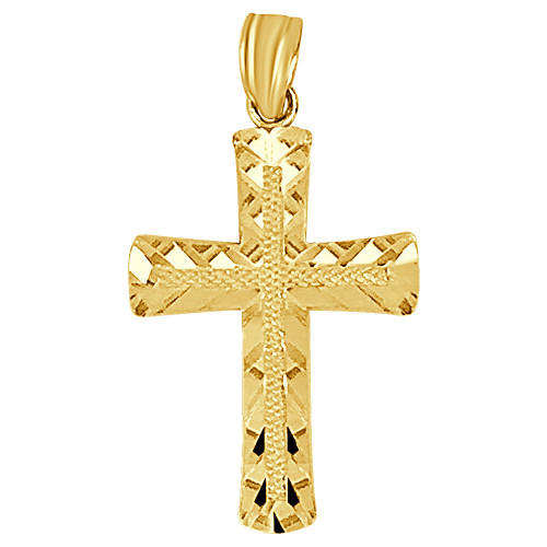 14k Yellow Gold, Sparkling Cross Pendant Religious Charm 15mm (P018-046)
