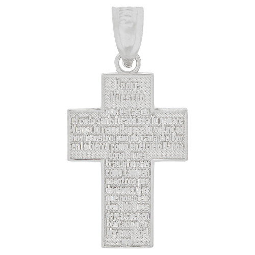 14K Gold White Rhodium, Small Padre Nuestro Spanish Lord's Prayer Cross Pendant Religious Charm 14mm (P019-071)