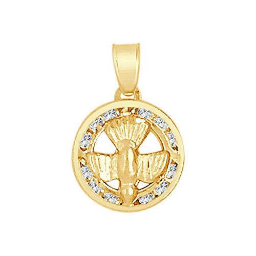 14k Yellow Gold, Mini Holy Spirit Dove Charm Created CZ Crystals 11mm (P021-044)