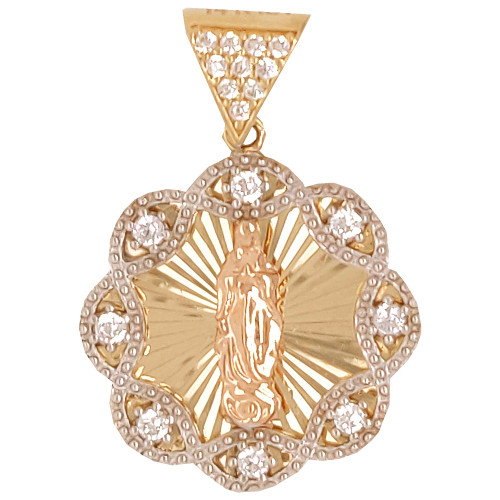 14k Yellow & Rose Gold, Fancy Virgin Mary Pendant Religious Charm Created CZ Crystals 18mm (P024-046)