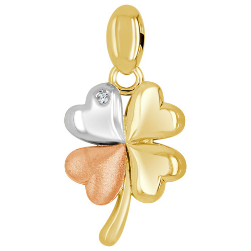 14k Tricolor Gold, Fancy 4 Leaf Clover Lucky Pendant Charm Created CZ Crystal 14.5mm (P026-019)