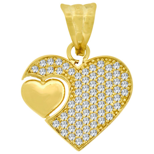 14k Yellow Gold, Fancy Heart Pendant Charm Created CZ Crystals 17mm (P026-042)