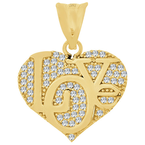14k Yellow Gold, Fancy Heart Pendant Love Charm Created CZ Crystals 18mm (P026-045)