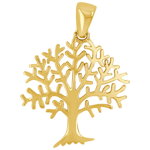 14k Yellow Gold, Tree of Life Pendant Charm 21mm (P026-049)