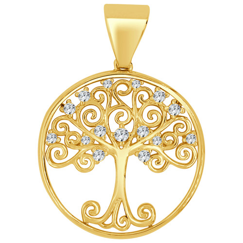 14k Yellow Gold, Tree of Life Pendant Charm Created CZ Crystals 21mm (P026-050)