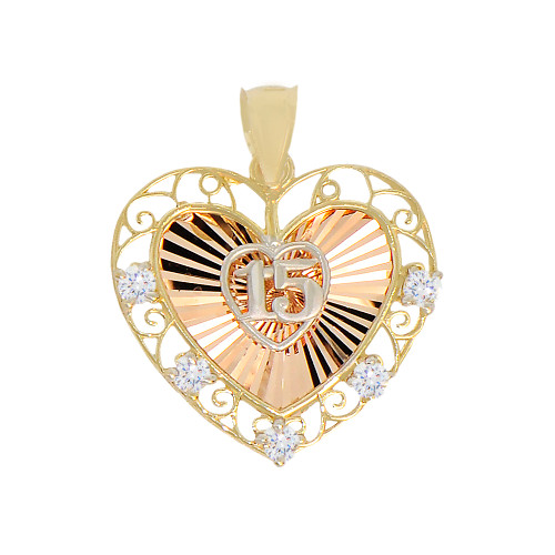 14k Tricolor Gold, 15 Anos Quinceanera Fancy Pendant Heart Charm Created CZ Crystals 20mm (P027-039)