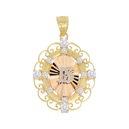 14k Tricolor Gold, 15 Anos Quinceanera Fancy Pendant Oval Charm Created CZ Crystals 20mm (P027-040)