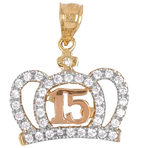 14k Yellow and Rose Gold, Crown Tiara 15 Quinceanera Pendant Charm Created CZ 18.5mm (P027-041)