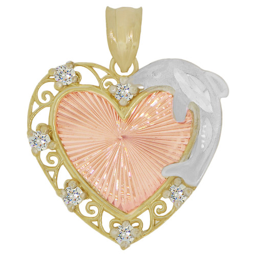 14k Tricolor Gold, 15 Anos Quinceanera Fancy Pendant Heart Charm Created CZ Crystals 20mm (P027-045)
