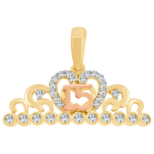 14k Yellow & Rose Gold, Crown Tiara 15 Quinceanera Pendant Charm Created CZ Crystals 18mm (P028-050)