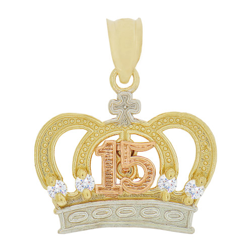 14k Tricolor Gold, 15 Anos Quinceanera Crown Tiara Pendant Charm Created CZ Crystals 19mm (P029-034)