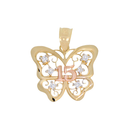 14k Yellow & Rose Gold, 15 Anos Quinceanera Butterfly Pendant Charm Created CZ Crystals 19mm (P029-035)