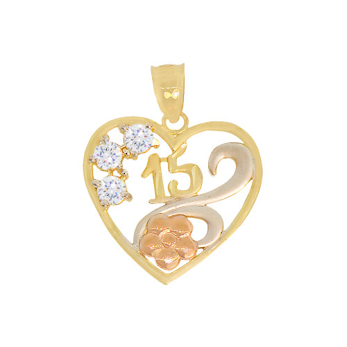 14k Tricolor Gold, 15 Anos Quinceanera Heart Flower Pendant Charm Created CZ Crystals 19mm (P029-036)