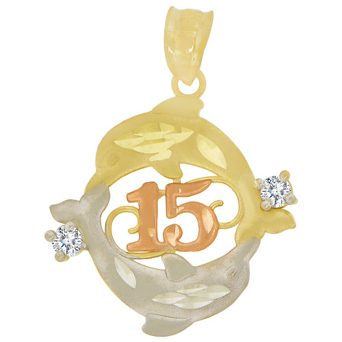 14k Tricolor Gold, 15 Anos Quinceanera Twin Dolphins Pendant Charm Created CZ Crystals 21mm (P029-037)