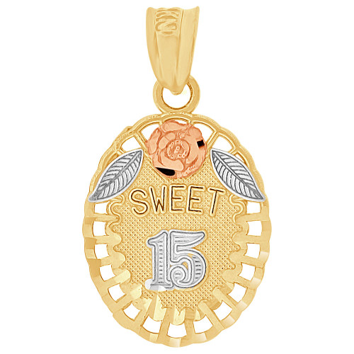 14k Tricolor Gold, Sweet 15 Anos Quinceanera Oval Pendant Charm 14mm (P029-040)