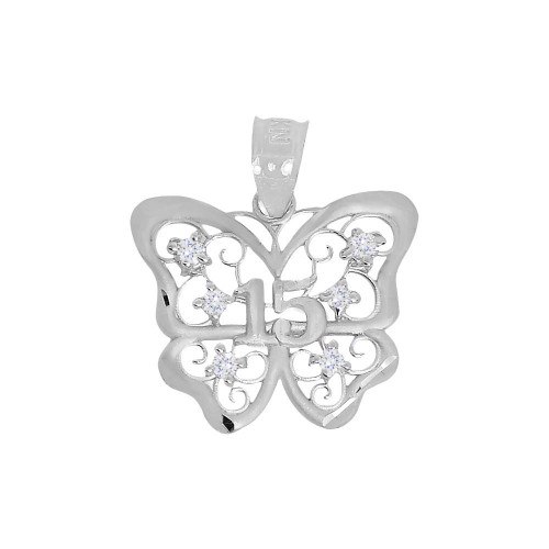 14k White Gold, 15 Anos Quinceanera Butterfly Pendant Charm Created CZ Crystals 19mm (P029-085)