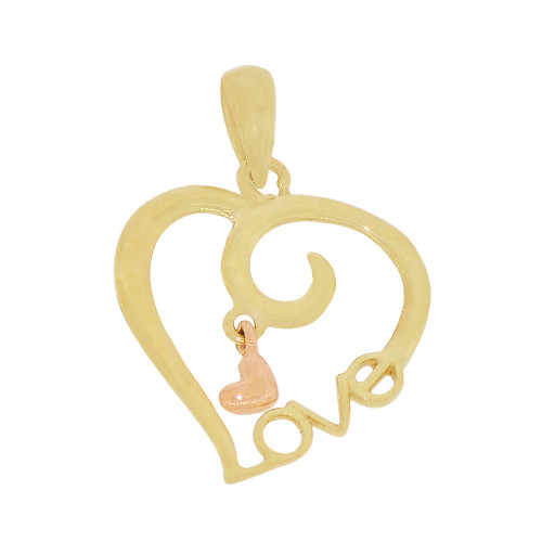 14k Yellow & Rose Gold, Small Heart Pendant Charm with LOVE 15mm (P030-029)