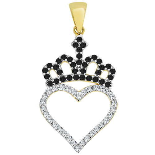 14k White Gold, Heart Crown Tiara Pendant Charm Created CZ Crystals 17mm (P030-045)
