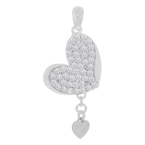 14k White Gold, Dangling Heart Pendant Charm Created CZ 13mm (P030-075)
