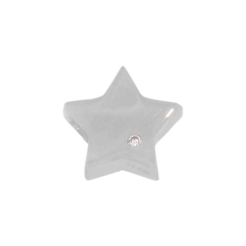 14k White Gold, Mini Tiny Star Pendant Charm Lab Created Gem 9mm (P030-081)