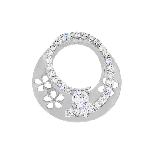 14k White Gold, Small Size Modern Pendant Charm Created CZ 14mm (P030-083)