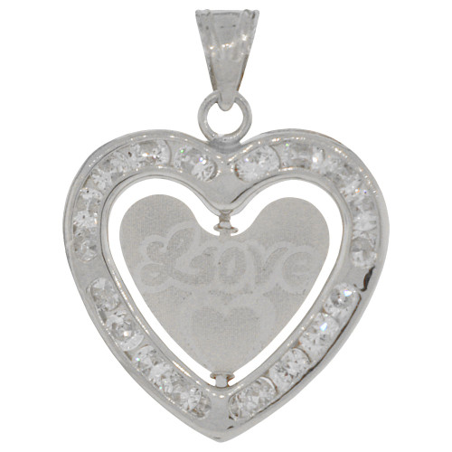 14k White Gold, Spinning Heart Pendant Charm Love Amor Created CZ Crystals 18mm (P030-085)