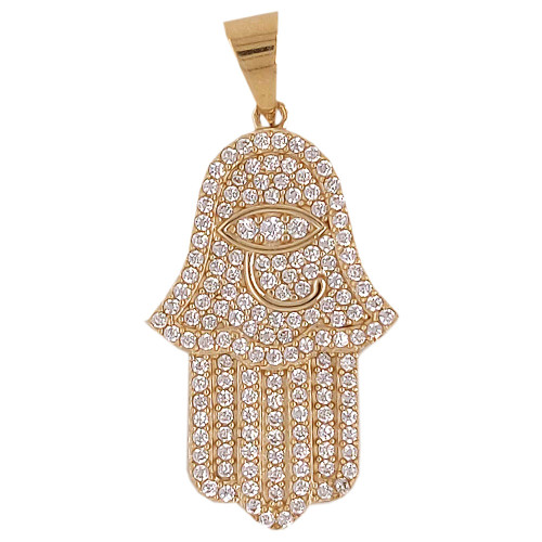 14k Yellow Gold, Protection Hand Hamsa Pendant Charm Created CZ Crystals 16mm (P030-101)