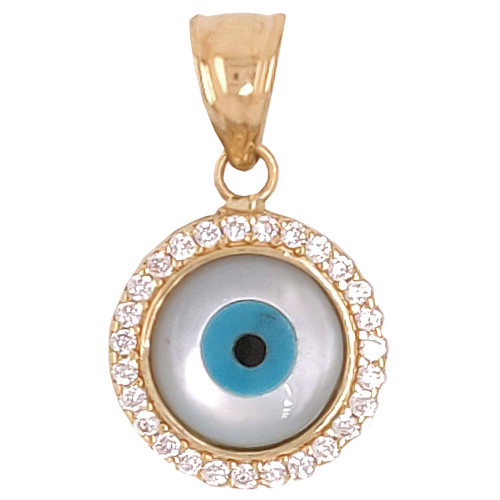 14k Yellow Gold, Evil Eye Pendant Charm Enamel Overlay Created CZ Crystals 11mm (P030-102)