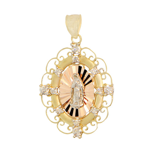 14k Tricolor Gold, Virgin Mary Guadalupe Pendant Charm Fancy Border Created CZ 20mm (P031-028)