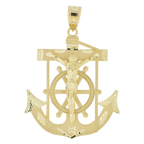 14k Yellow Gold, Christ Jesus Anchor Cross Crucifix Pendant Religious Charm 36mm (P032-014)