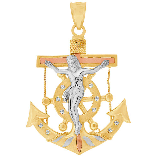 14k Tricolor Gold, Fancy Christ Jesus Anchor Crucifix Pendant Religious Charm Created CZ 33mm (P032-029)