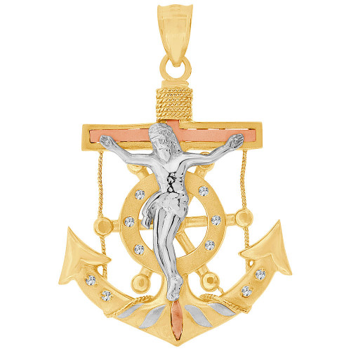 14k Tricolor Gold, Fancy Christ Jesus Anchor Crucifix Pendant Religious Charm Created CZ 45mm (P032-031)