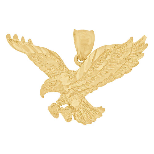 14k Yellow Gold, Flying Wing Spread Bald Eagle Pendant Charm 38mm (P033-004)