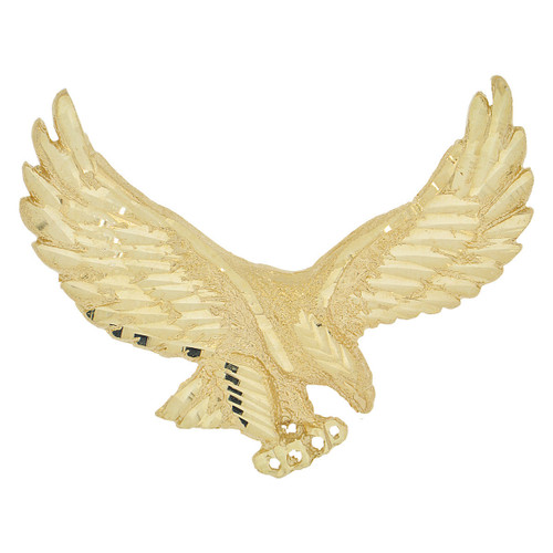 14k Yellow Gold, Flying Wing Spread Bald Eagle Pendant Charm 55mm (P033-008)