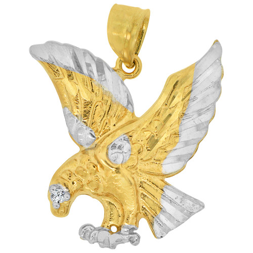 14k Yellow Gold White Rhodium, Flying Wing Bald Eagle Pendant Charm Created CZ 20mm (P033-027)