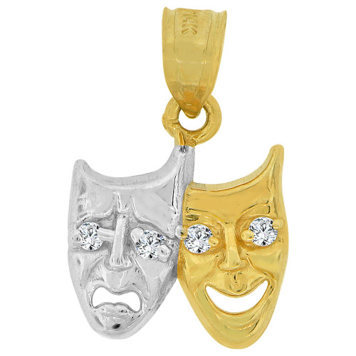 14k Yellow Gold White Rhodium, Drama Smile Now Cry Later Pendant Charm Created CZ 15mm (P033-028)