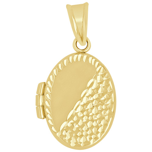 14k Yellow Gold, Locket Pendant Charm For Photos Oval 20mm (P035-009)