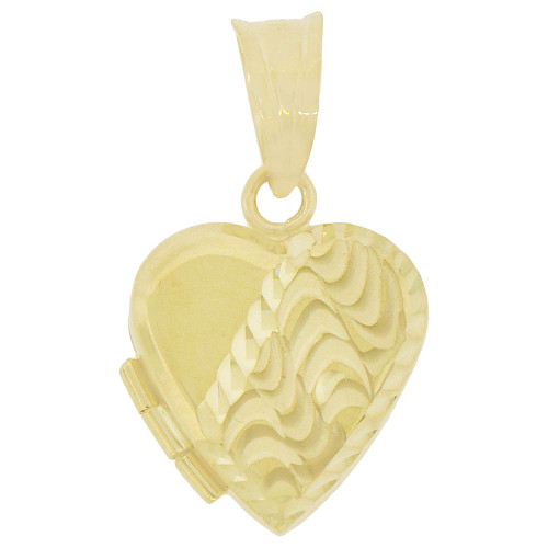 14k Yellow Gold, Locket Pendant Charms For Photos Heart 15mm (P035-039)
