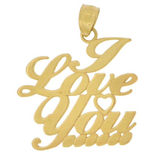 14k Yellow Gold, I Love You Pendant Charm Scrip Writing 20mm (P035-041)